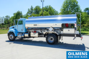 blue fuel oil truck driver side view